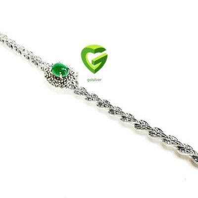 دستبندنقره سبز بیضی کد227