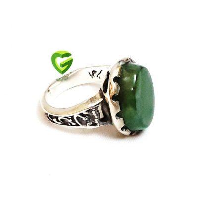 انگشترنقره عقیق سبز کد107