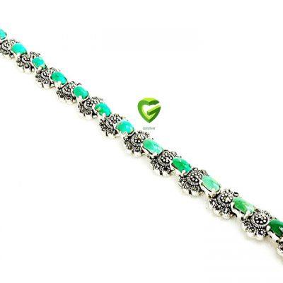 دستبندنقره فیروزه سبز کد233